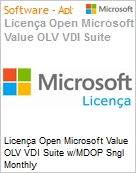 Licença mensal Microsoft Value OLV VDI Suite w/MDOP Sngl Monthly Subscriptions-Volume License 1 License No Level Additional Product Per Device 1 Month (Figura somente ilustrativa, não representa o produto real)