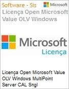 Licença Open Microsoft Value OLV Windows MultiPoint Server CAL Sngl License/Software Assurance Pack [LicSAPk] 1 License No Level Additional Product wWIN SVR CAL User CAL U (Figura somente ilustrativa, não representa o produto real)