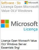 Licença Open Microsoft Value OLV Windows Server Essentials Sngl License/Software Assurance Pack [LicSAPk] 1 License No Level Additional Product 2 Year Acquired year 2 (Figura somente ilustrativa, não representa o produto real)