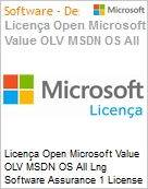 Licença Open Microsoft Value OLV MSDN OS All Lng Software Assurance 1 License No Level Additional Product 2 Year Acquired year 2  (Figura somente ilustrativa, não representa o produto real)
