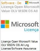 Licença Open Microsoft Value OLV MSDN OS All Lng License/Software Assurance Pack [LicSAPk] 1 License No Level Additional Product 1 Year Acquired year 3 (Figura somente ilustrativa, não representa o produto real)