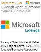 Licença Open Microsoft Value OLV Project Server CAL SNGL License/Software Assurance Pack [LicSAPk] No Level Additional Product User CAL 1 Year Acquired year 3 (Figura somente ilustrativa, não representa o produto real)