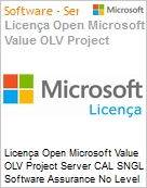 Licença Open Microsoft Value OLV Project Server CAL SNGL Software Assurance No Level Additional Product User CAL 3 Year Acquired year 1  (Figura somente ilustrativa, não representa o produto real)