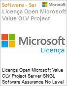Licença Open Microsoft Value OLV Project Server SNGL Software Assurance No Level Additional Product 1 Year Acquired year 3  (Figura somente ilustrativa, não representa o produto real)