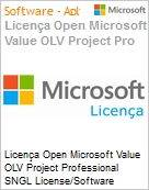 Licença Open Microsoft Value OLV Project Professional SNGL License/Software Assurance Pack [LicSAPk] No Level Addtl Prod w/1 ProjectSvr CAL 1 Year Acq year 3 (Figura somente ilustrativa, não representa o produto real)