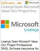 Licença Open Microsoft Value OLV Project Professional SNGL Software Assurance No Level Additional Product w/1 ProjectSvr CAL 1 Year Acquired year 3 (Figura somente ilustrativa, não representa o produto real)
