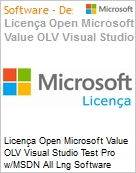 Licença Open Microsoft Value OLV Visual Studio Test Pro w/MSDN All Lng Software Assurance 1 License No Level Additional Product 1 Year Acquired year 2 (Figura somente ilustrativa, não representa o produto real)