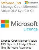 Licença Open Microsoft Value OLV Sys Ctr Clt Mgmt Suite Sngl Software Assurance 1 License No Level Additional Product Per OSE 1 Year Acquired year 2 (Figura somente ilustrativa, não representa o produto real)