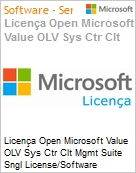 Licença Open Microsoft Value OLV Sys Ctr Clt Mgmt Suite Sngl License/Software Assurance Pack [LicSAPk] 1 License No Level Additional Product Per OSE 1 Year Acquired year 1 (Figura somente ilustrativa, não representa o produto real)
