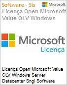 Licença Open Microsoft Value OLV Windows Server Datacenter Sngl Software Assurance 1 License No Level Additional Product 2 PROC 1 Year Acquired year 2 (Figura somente ilustrativa, não representa o produto real)