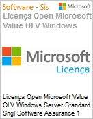 Licença Open Microsoft Value OLV Windows Server Standard Sngl Software Assurance 1 License No Level Additional Product 2 PROC 1 Year Acquired year 3 (Figura somente ilustrativa, não representa o produto real)