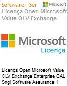 Licença Open Microsoft Value OLV Exchange Enterprise CAL Sngl Software Assurance 1 License No Level Additional Product Device CAL Device CAL w/ Services 1 Year A (Figura somente ilustrativa, não representa o produto real)