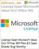 Licença mensal Microsoft Value OLV Office 365 Plan E3 Shared Sngl Monthly Subscriptions-Volume License 1 License No Level Additional Product Platform Addon to (Figura somente ilustrativa, não representa o produto real)