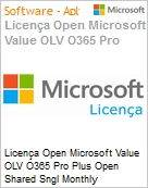 Licença mensal Microsoft Value OLV Office 365 Pro Plus Shared Sngl Monthly Subscriptions-Volume License 1 License No Level Additional Product Renew2Cloud Promo 1 Mon (Figura somente ilustrativa, não representa o produto real)