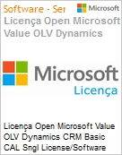 Licença Open Microsoft Value OLV Dynamics CRM Basic CAL Sngl License/Software Assurance Pack [LicSAPk] 1 License No Level Additional Product Device CAL Device CAL 1 Year A (Figura somente ilustrativa, não representa o produto real)