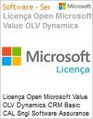 Licença Open Microsoft Value OLV Dynamics CRM Basic CAL Sngl Software Assurance 1 License No Level Additional Product User CAL User CAL 1 Year Acquired year 3 (Figura somente ilustrativa, não representa o produto real)