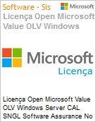 Licença Open Microsoft Value OLV Windows Server CAL SNGL Software Assurance No Level Additional Product Device CAL 1 Year Acquired year 3  (Figura somente ilustrativa, não representa o produto real)