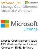 Licença Open Microsoft Value OLV Windows Server External Connector SNGL Software Assurance No Level Additional Product 1 Year Acquired year 2  (Figura somente ilustrativa, não representa o produto real)