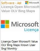 Licença mensal Microsoft Value OLV Bing Maps Known User Sngl Monthly Subscriptions-Volume License 1 License No Level Additional Product Per User 1 Month (Figura somente ilustrativa, não representa o produto real)