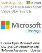 Licença Open Microsoft Value OLV Sys Ctr Datacenter Sngl Software Assurance 1 License No Level Additional Product 2 PROC 1 Year Acquired year 1 (Figura somente ilustrativa, não representa o produto real)
