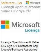 Licença Open Microsoft Value OLV Sys Ctr Datacenter Sngl License/Software Assurance Pack [LicSAPk] 1 License No Level Additional Product 2 PROC 3 Year Acquired year 1 (Figura somente ilustrativa, não representa o produto real)