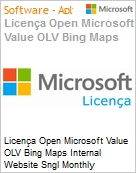 Licença mensal Microsoft Value OLV Bing Maps Internal Website Sngl Monthly Subscriptions-Volume License 1 License No Level Additional Product Usage 100K Transaction (Figura somente ilustrativa, não representa o produto real)