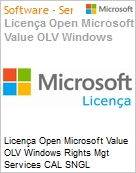 Licença Open Microsoft Value OLV Windows Rights Mgt Services CAL SNGL License/Software Assurance Pk No Level Addtl Prod User CAL 1 Year Acq year 3 (Figura somente ilustrativa, não representa o produto real)