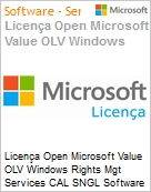 Licença Open Microsoft Value OLV Windows Rights Mgt Services CAL SNGL Software Assurance No Level Additional Product User CAL 1 Year Acquired year 1 (Figura somente ilustrativa, não representa o produto real)