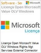 Licença Open Microsoft Value OLV Windows Rights Mgt Services External Connector SNGL Software Assurance No Level Additional Product 1 Year Acquired year 1 (Figura somente ilustrativa, não representa o produto real)