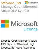 Licença Open Microsoft Value OLV Sys Ctr Standard Sngl License/Software Assurance Pack [LicSAPk] 1 License No Level Additional Product 2 PROC 3 Year Acquired year 1 (Figura somente ilustrativa, não representa o produto real)