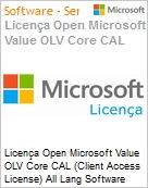 Licença Open Microsoft Value OLV Core CAL (Client Access License) All Lang Software Assurance No Level Enterprise Device CAL 1 Year Acquired year 1 (Figura somente ilustrativa, não representa o produto real)