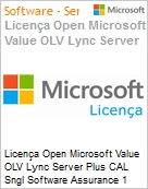 Licença Open Microsoft Value OLV Lync Server Plus CAL Sngl Software Assurance 1 License No Level Additional Product User CAL User CAL 1 Year Acquired year 2 (Figura somente ilustrativa, não representa o produto real)