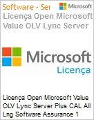 Licença Open Microsoft Value OLV Lync Server Plus CAL All Lng Software Assurance 1 License No Level Enterprise for ECAL Device CAL Device CAL 1 Year Acquired yea (Figura somente ilustrativa, não representa o produto real)