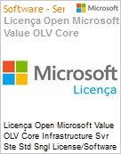 Licença Open Microsoft Value OLV Intel Core infrastructure Svr Ste Std Sngl License/Software Assurance Pack [LicSAPk] 1 License No Level Additional Product 2 PROC 2 Year Acquire (Figura somente ilustrativa, não representa o produto real)