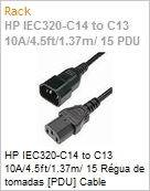 HP IEC320-C14 to C13 10A/4.5ft/1.37m/ 15 Régua de tomadas [PDU] Cable  (Figura somente ilustrativa, não representa o produto real)